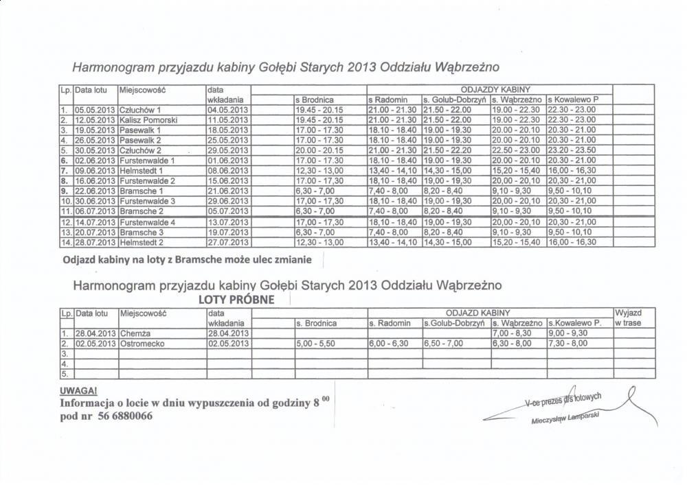 Harmonogram Przyjazdy Kabiny - Sezon Lotowy 2013